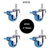 4PCS 2 Mute Wheel With Brake Loading 35kg Replacement Swivel Casters Rollers Wheels With M10 25