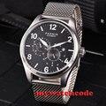 44 мм parnis черный циферблат сапфировое стекло 21 jewels miyota автоматические мужские часы P813