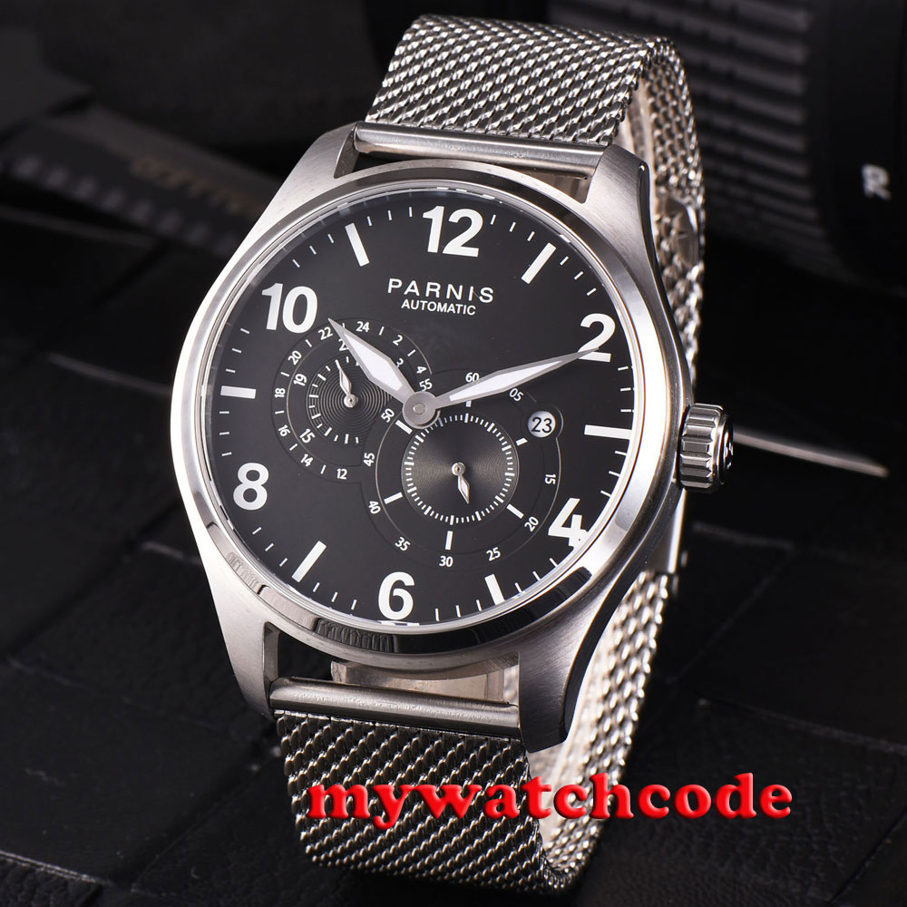 44mm parnis black dial sapphire glass 21 jewels miyota automatic mens watch P813 все цены