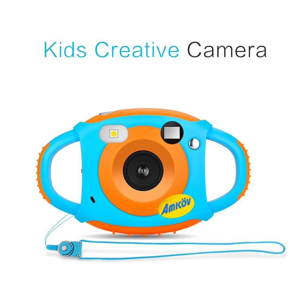 AMKOV Mini Bambini Innovativi Fotocamera da 1.77 Pollice HD Schermo a Colori 5MP Self-Portrait Specchio Design Lunga vita Creatività Del Collo Camera