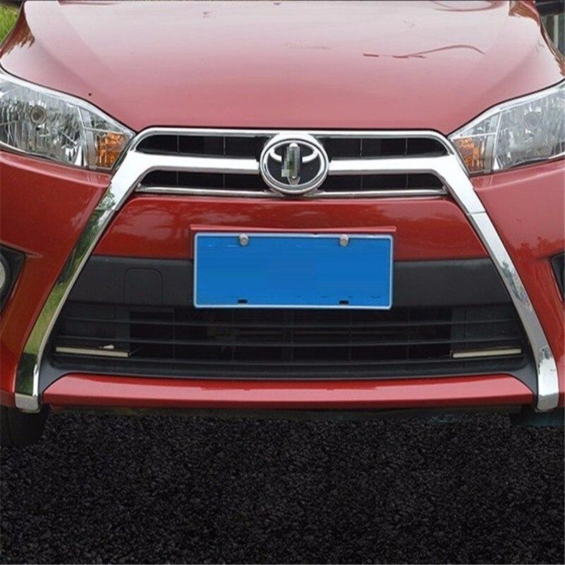 Accessoires de voiture chrome pièces 14 éblouissement net modifié barbe moustache visage décoratif avant pare-chocs garniture lumineuse pour Toyota Yaris