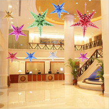 6pcs 30cm Colorful Laser Five-pointed Star Ceiling Ornaments Christmas Decoration New Year Christmas Tree Decoration Navidad -B