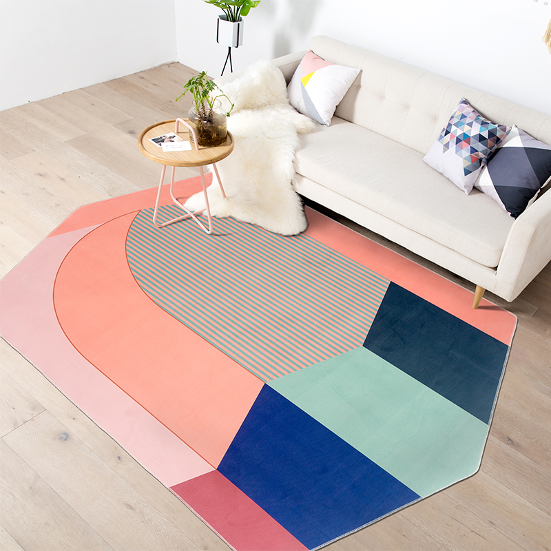 Nordic solid geometric carpet irregular simple modern creative living room sofa bedroom bedside blanket
