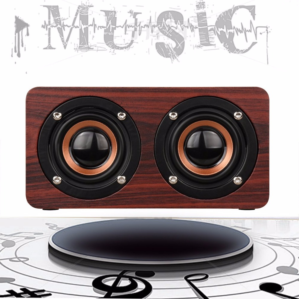 Household Wireless Bluetooth Speaker Portable Audio HiFi Home Theatre Mini Wood Grain AUX Input HD Stereo Speaker ...