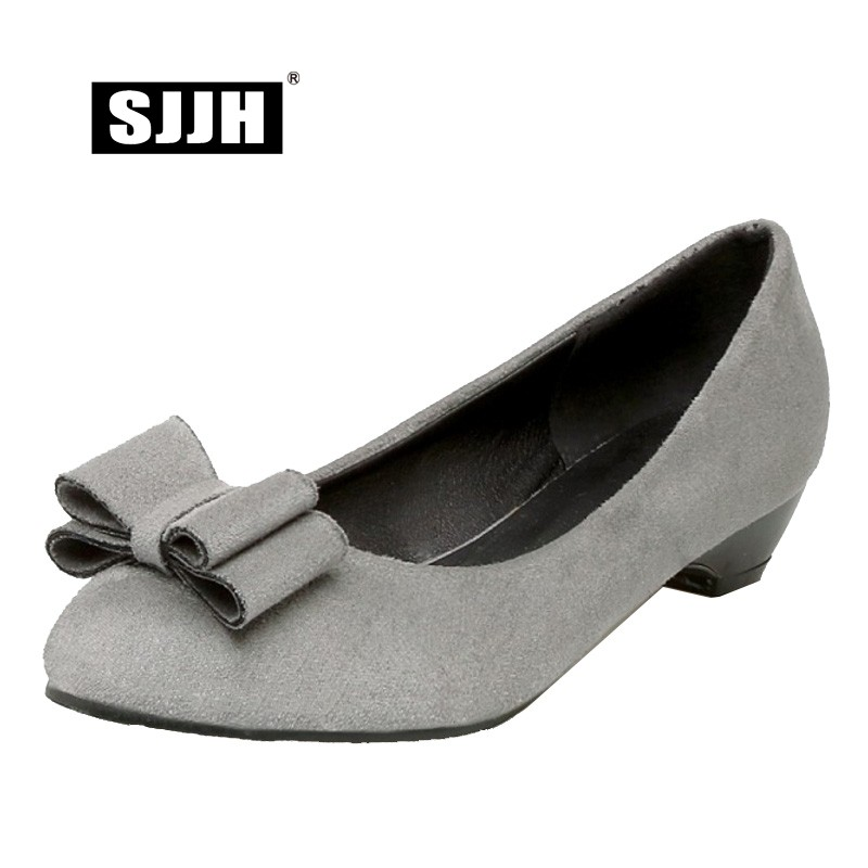SJJH 2018 Woman Flock Pumps with Round Toe and Low Wedges Bowtie Comfortable Footwear Fashion Casual Sweet Shoes Large Size A027 2016 new wedges platform shoes with comfort women bowtie buckle casual shoes sweet solid pumps round toe large size shoes