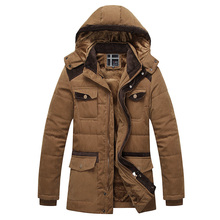 New Brand Men's Winter Jacket Casual Hooded Solid Cotton Padded Thick Warm Jacket Outwear Male Parkas Casaco Masculino Plus Size