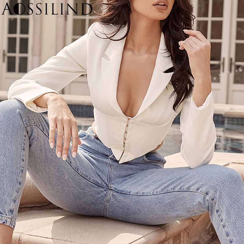Sexy Deep V Neck Vintage White Female Blazer Spring Summer Long Sleeve Elegant Short Jacket Women Party Club Jacket