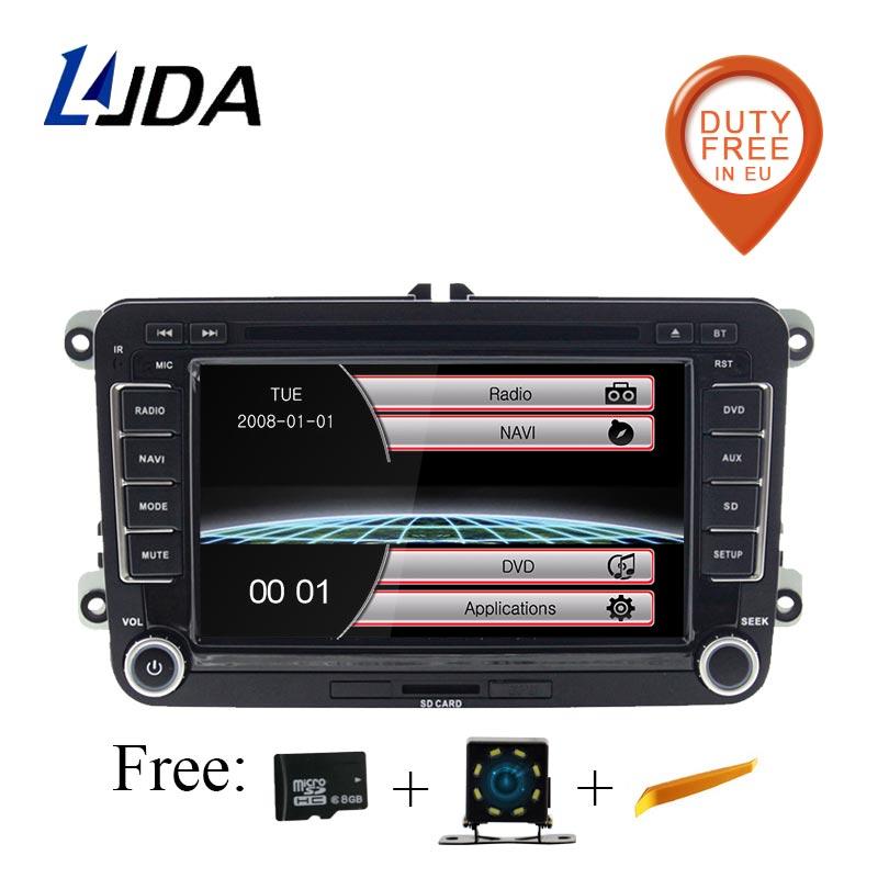 LJDA 2 Din 7 Inch Car DVD Player For VW Volkswagen Passat POLO GOLF Skoda Seat Leon GPS Navigaiton FM RDS Maps Radio 1080P USB