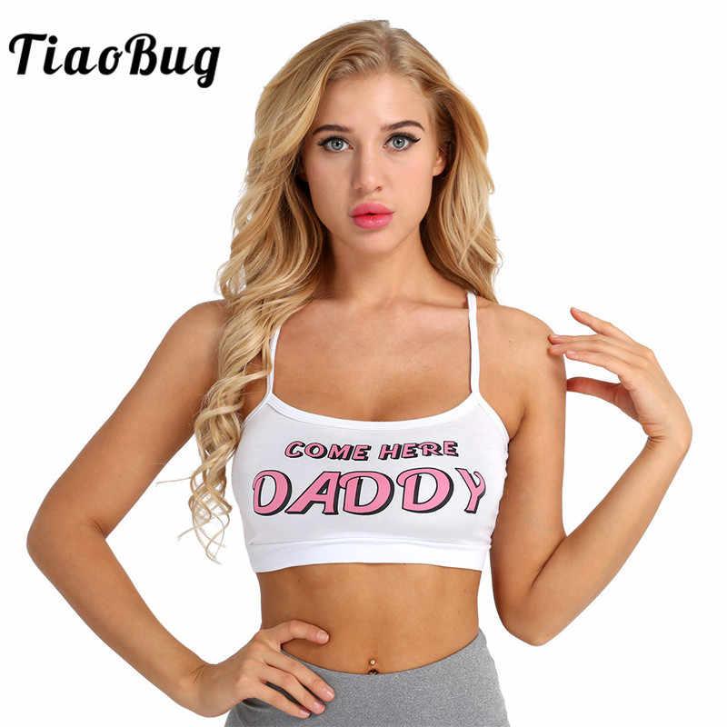 9b2ea28e35 TiaoBug Women Fashion Spaghetti Straps Short Vest Daddy Letter Printed  White Sexy Bralette Crop Top Camis