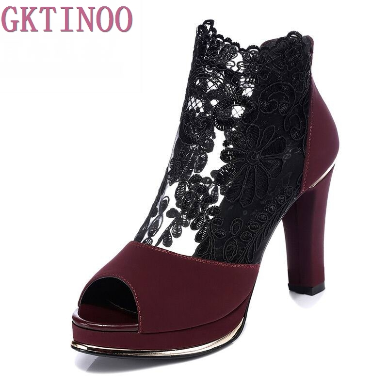 2018 new summer gauze sexy high heel shoes lace open toe women sandals fashion summer ankle boots women shoes sandals wholesale lttl new spring summer high heels shoes stiletto heel flock pointed toe sandals fashion ankle straps women party shoes