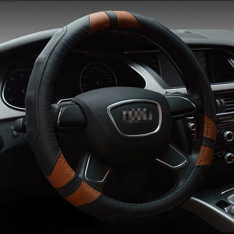 carsun general 38cm high quality car steering wheel cover many colors genuine leather for audi a3a4a5a6a8q3q5q7