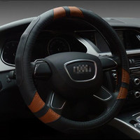 CARSUN General 38CM High Quality Car Steering Wheel Cover Many Colors Genuine Leather For Audi A3