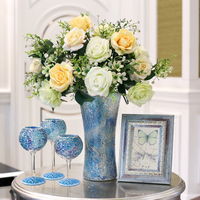 Modern Mediterranean blue glass vase luxurious vase set Dried flowers containers Candleholder Photo frame set home Wedding Decor