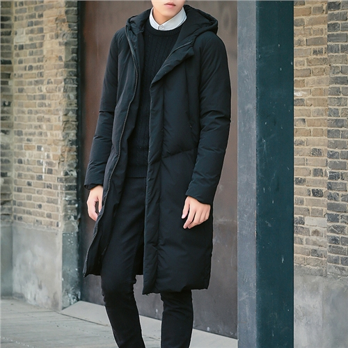 In the long winter down jacket men young Korean slim type Long Maxi white eiderdown coat thick