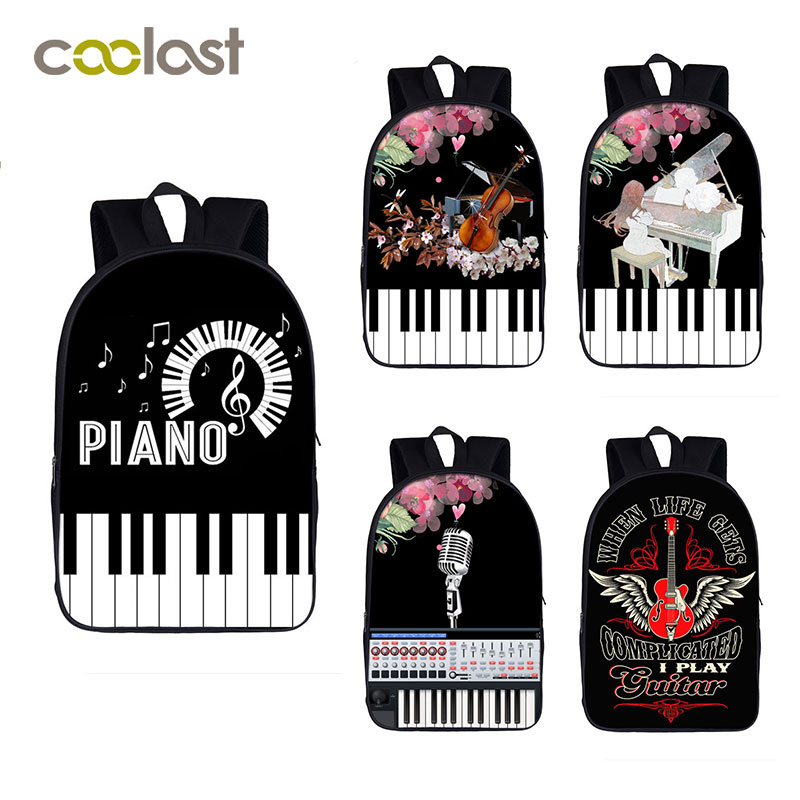Elegent Music Backpack Women Men Casual Bag Playing Piano Guitar Students Children School Bags for Teenager Girls Boys Book BagElegent Music Backpack Women Men Casual Bag Playing Piano Guitar Students Children School Bags for Teenager Girls Boys Book Bag