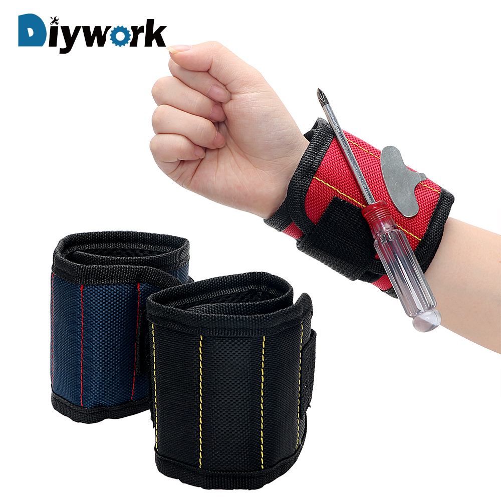 DIYWORK Magnetic Wrist Strap Tool Storage Bag Adsorption Screw Bag Magnetic Wrist Band Toolkit Magnet Picker