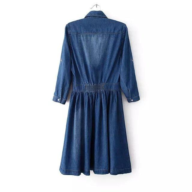 2017 New Arrival Quality Plus Size Women's Clothes, Female Fashion Casual 4XL Denim Dress Elegant Slim Jeans Dresses With Belt