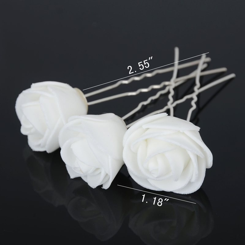6pcslot beauty wedding bridal white rose flower hair pin hair clip 6pcslot beauty wedding bridal white rose flower hair pin hair clip u shape hairpins bridesmaid women accessory jewelry in hair jewelry from jewelry mightylinksfo