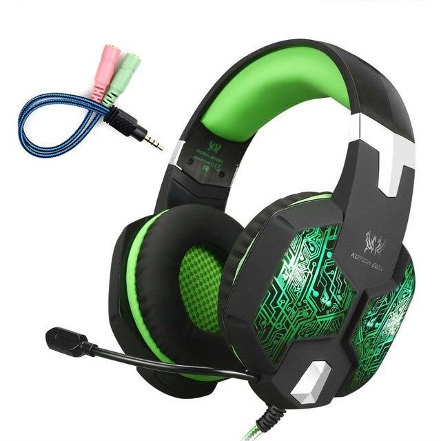 Ordenador auriculares de juego estéreo KOTION EACH G1000 mejor casque Deep Bass juego Auriculares auriculares con micrófono LED para PC gamer
