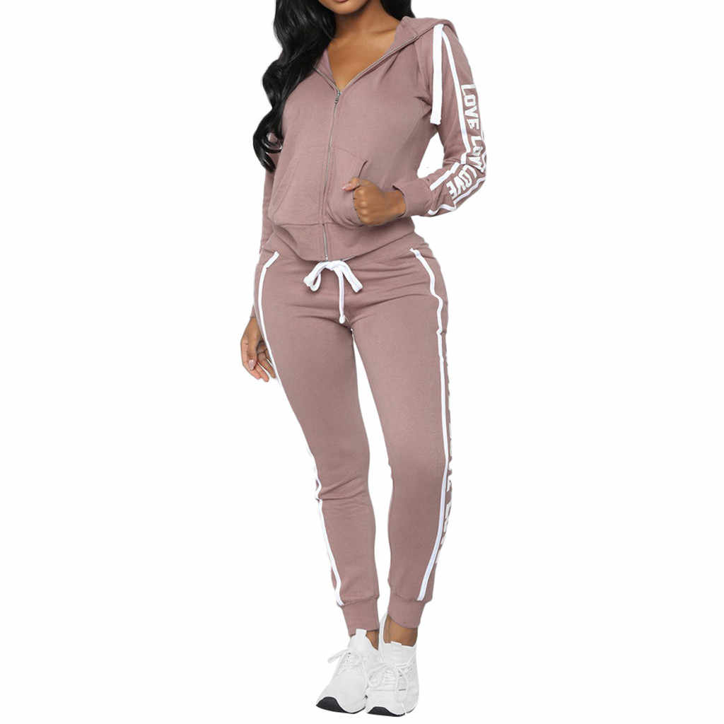 Perimedes slim running set Women Gym tracksuit Spandex Stripe Zipper Long Sleeve Pullove Sport Tops+Long Pants Set#g40