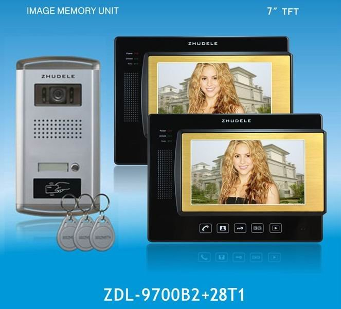 ZHUDELE Home Protection 4-wire 7 inch luxury Color Video doorphone,ID card unlocked,touchscreen ,nightvision,CCD camera (1 to 2)