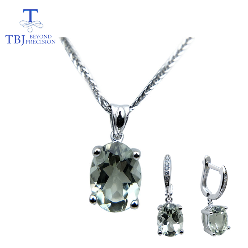 TBJ 2019 new natural green amethyst gemstone jewelry Necklaces and earrings set in 925 silver gemstone