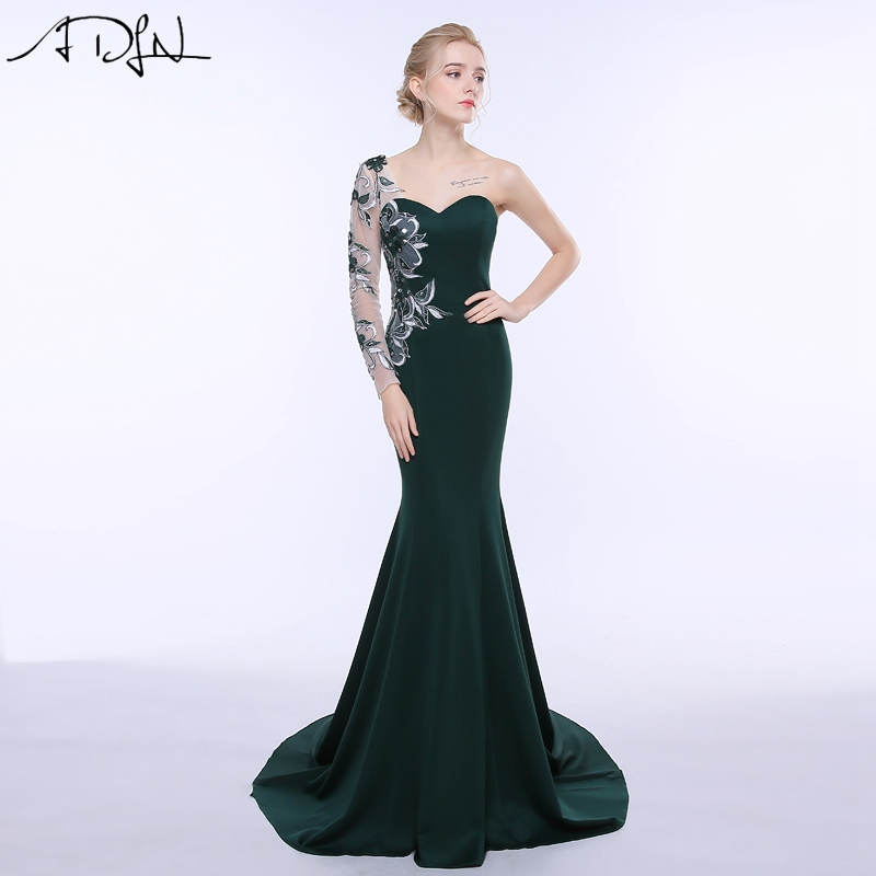 ADLN 2019 Hot Sale One shoulder Mermaid Evening Dress with Embroidery Custom Made Long Sleeve Party