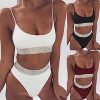 MisShow High Waist Shinny Silver Bordered Bikinis Set Women Crop Top Swimsuit Padded Swimwear 2019 maillot de bain femme