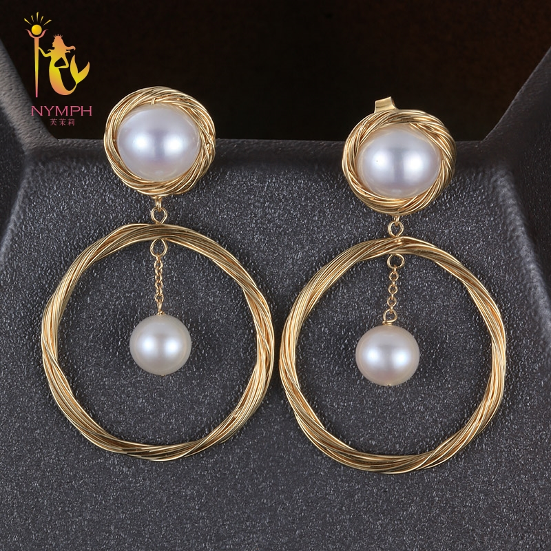 [NYMPH] Pearl Earrings For Women Fine Jewelry Natural Pearl Earrings Near Round Trendy Anniversary Gift CIRCLE E302 a suit of chic fake pearl rhinestone circle bowknot necklace and earrings for women