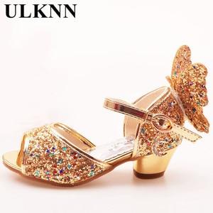 Image 3 - ULKNN/сандалии для девочек; розовые туфли для латинских танцев со стразами и бабочками; От 5 до 13 лет 6; летние туфли принцессы на высоком каблуке для детей 7 лет