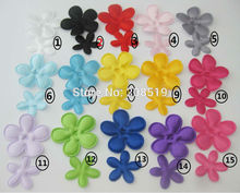 PANVNE Assorted colorful satin flower patches mix 200pcs 25MM and 35MM for DIY scrapbook craft design