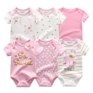 Image 1 - 2020 Newest 6PCS/lot Baby Girl Clothe Roupa de bebes Baby Boy Clothes Unicorn Baby Clothing Sets Rompers Newborn Cotton 0 12M