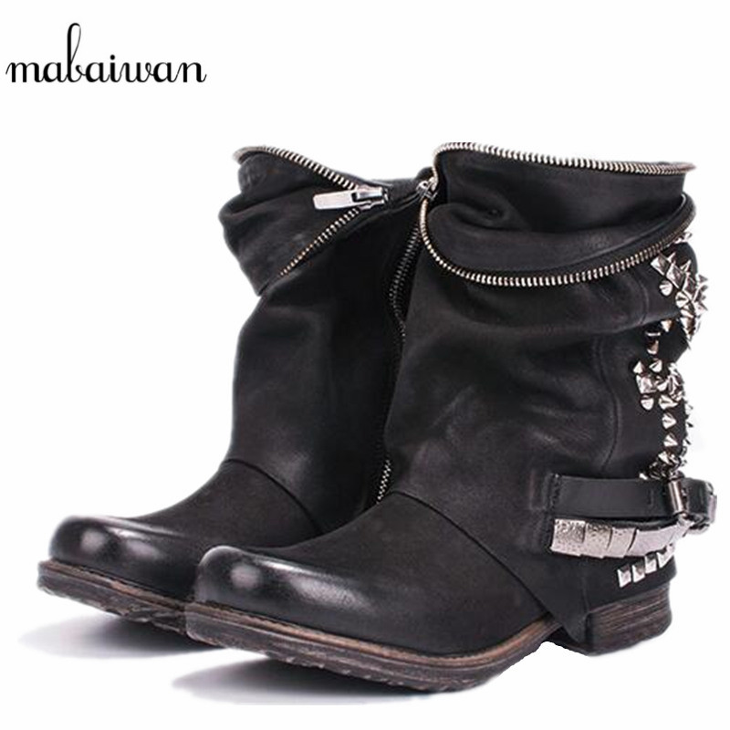 Mabaiwan Women Shoes Winter Snow Genuine Leather Ankle Boots Retro Style Motorcycle Boots Rivets Short Zipper Shoes Women Flats mabaiwan handmade rivets military cowboy boots mid calf genuine leather women motorcycle boots vintage buckle straps shoes woman