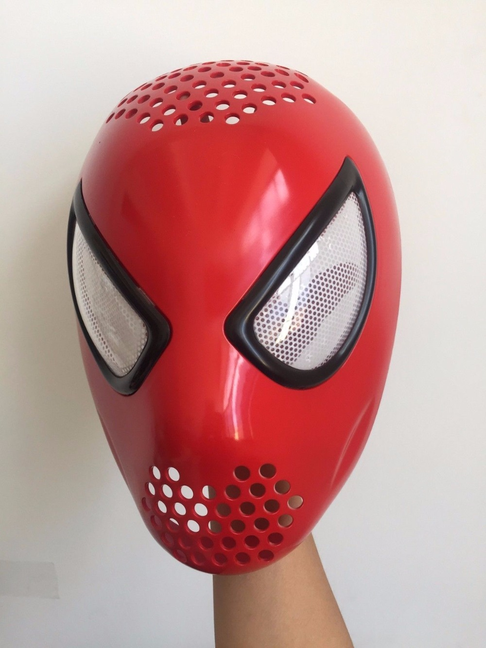 Spider-man Home-coming Red Faceshell with Lens Silicone 3D Mask Cosplay Role Play