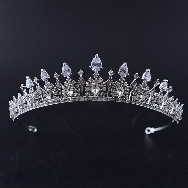 Prata Crystal Clear Cubic Zircon Nupcial Coroa Tiara de Strass Pageant Prom Casamento Coroa De Noiva Acessórios Para o Cabelo de Noiva Tiara HG420