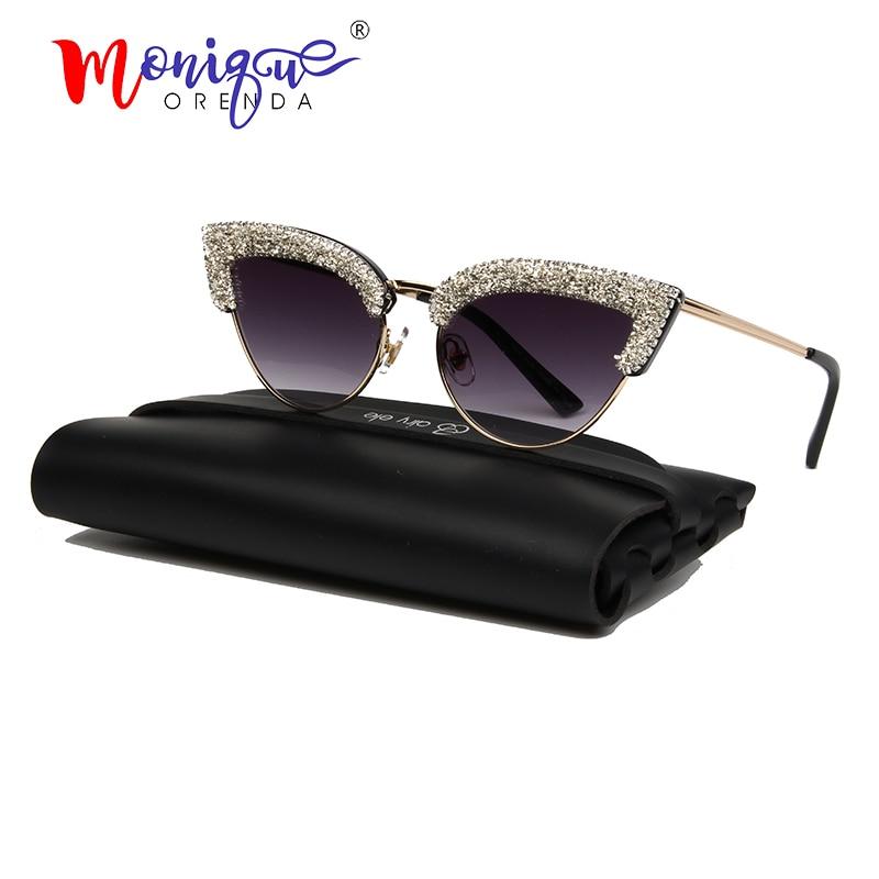 Fashion Cat Eye Sunglasses Women Brand Designer Vintage Half Frame Gravel Rhinestone Sun Glasses Men Shades Oculos De Sol UV400