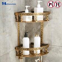Полки для ванной комнаты, 2 слоя, антикварная металлическая угловая полка для душа, настенная полка для хранения шампуня