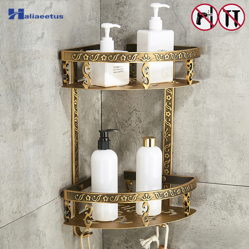 Nail Free Bathroom Shelves 2 Layer Antique Metal Shower Corner Shelf Wall Mount Shampoo Storage Shelf black bathroom shelves stainless steel 2 tier square shelf shower caddy storage shampoo basket kitchen corner shampoo holder