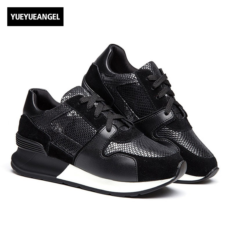 2018 New Women Trainer Sneakers Lace Up Fashion Mesh Thick Platform Pumps Casual Shoes Streetwear Zapatos Mujer Tenis Footwear