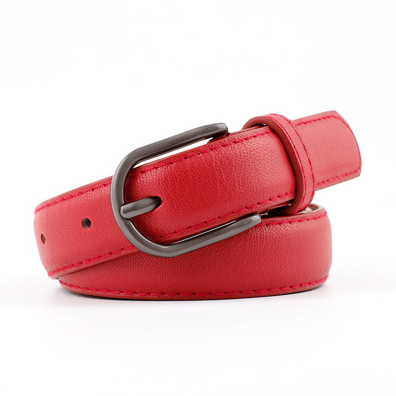 High Quality Leather Casual Women Belt Solid Black Red White Brown Female Belts Pin Buckle Strap Cinturon Mujer Back To Search Resultsapparel Accessories