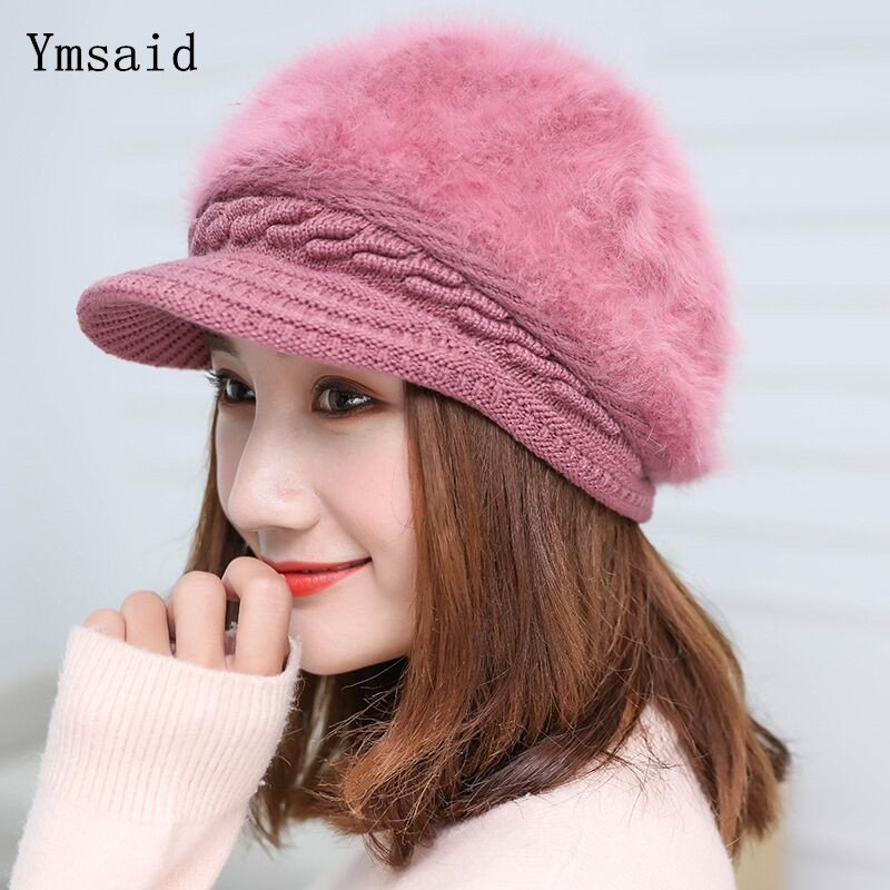 Ymsaid Winter Women Hat Warm Beanies Knitted Hats Female Rabbit Fur Cap Autumn Winter Ladies Fashion Hat Skullies Beanies