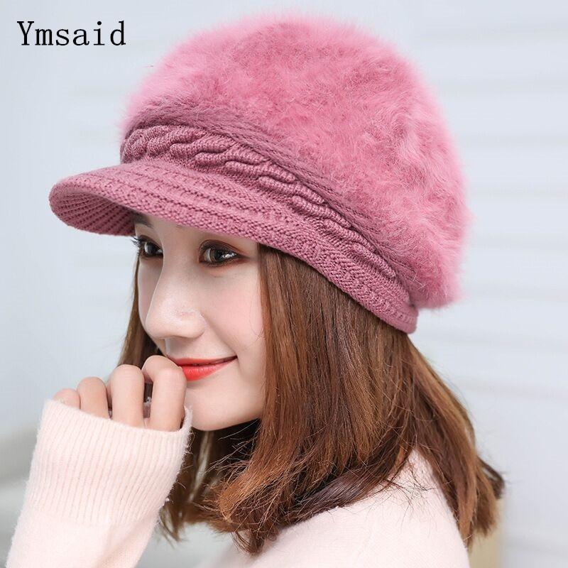 Ymsaid Winter Women Hat Warm Beanies Knitted Hats Female Rabbit Fur Cap Autumn Winter Ladies Fashion Hat Skullies Beanies