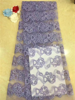 Nigerian Lace Fabric 2019 High Quality Lace Lace Fabric Wedding White African With Sequins Nigerian French Lace Fabric Purple(FJ