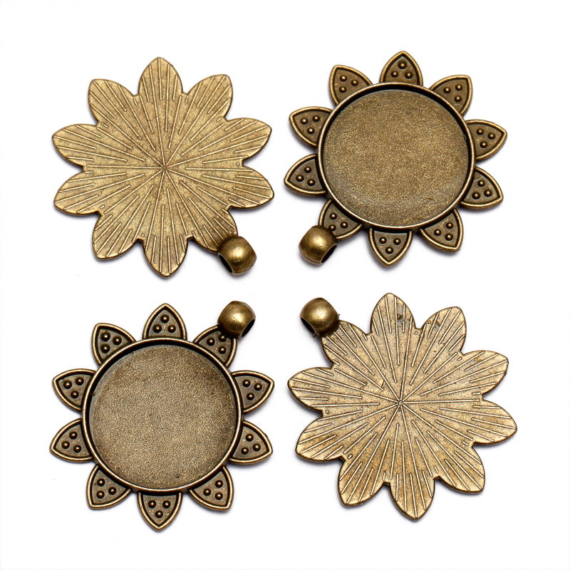 10pcs Antique Bronze Blank Base Cabochon Base Pendant Setting for 25mm Glass Cabochon Cameo DIY Necklace Making