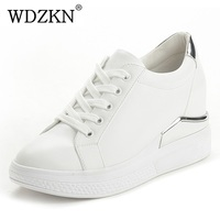 WDZKN Spring Autumn White Women Shoes Sneakers Lace Up Round Toe Height Increasing Casual Shoes Woman