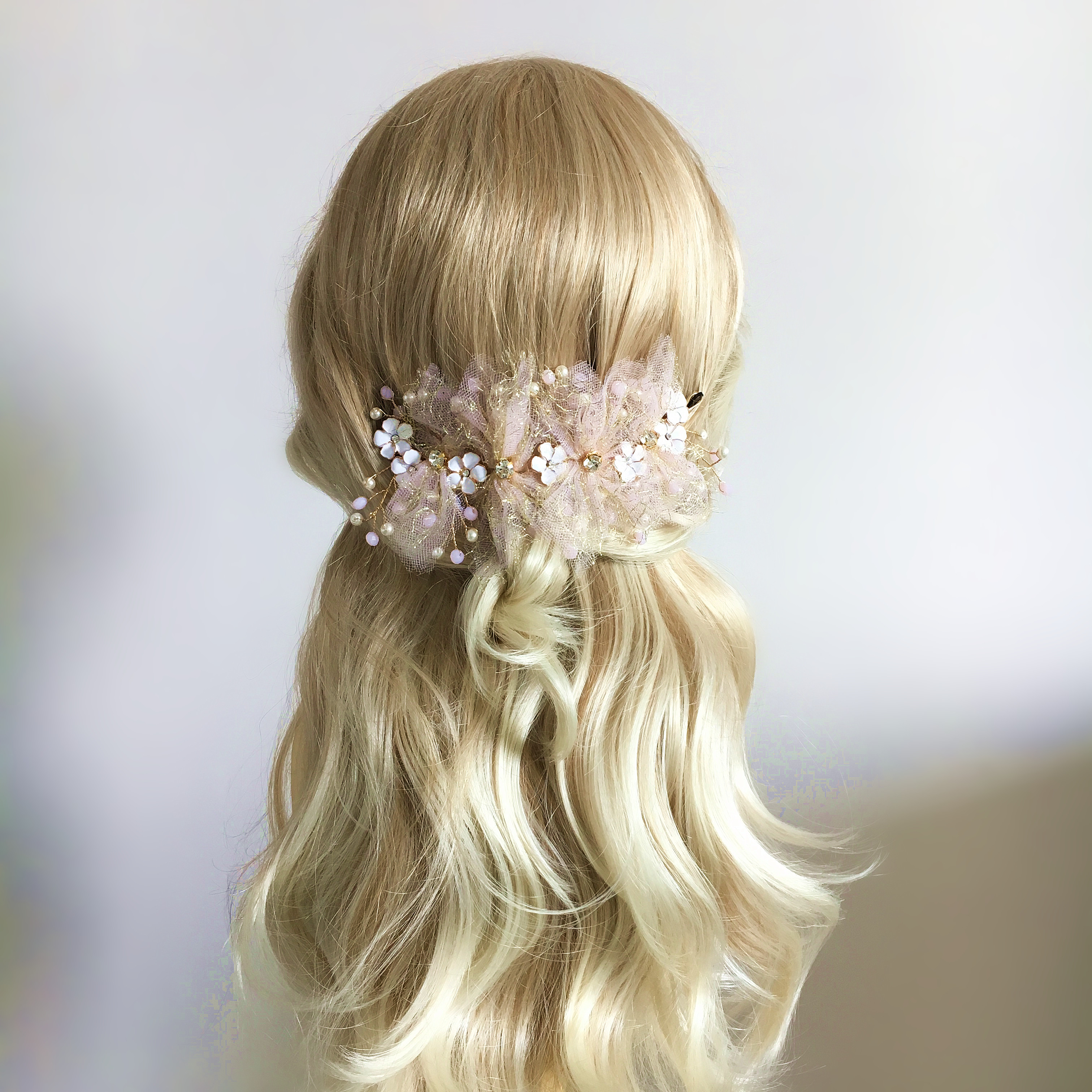 Beaded Fabric Flower Headband Pearl Tiara Hair Jewelry Pearl ...