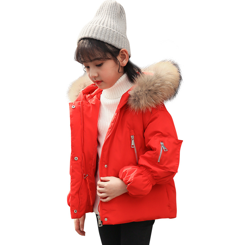 цена на Winter Girl's Jacket New Large Hair Collar Hooded Children's Clothing Duck's Feather Filling Thickening and Warm Down Jacket.