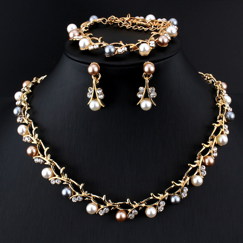 Jiayijiaduo Classic Imitation Pearl Necklace Gold Color