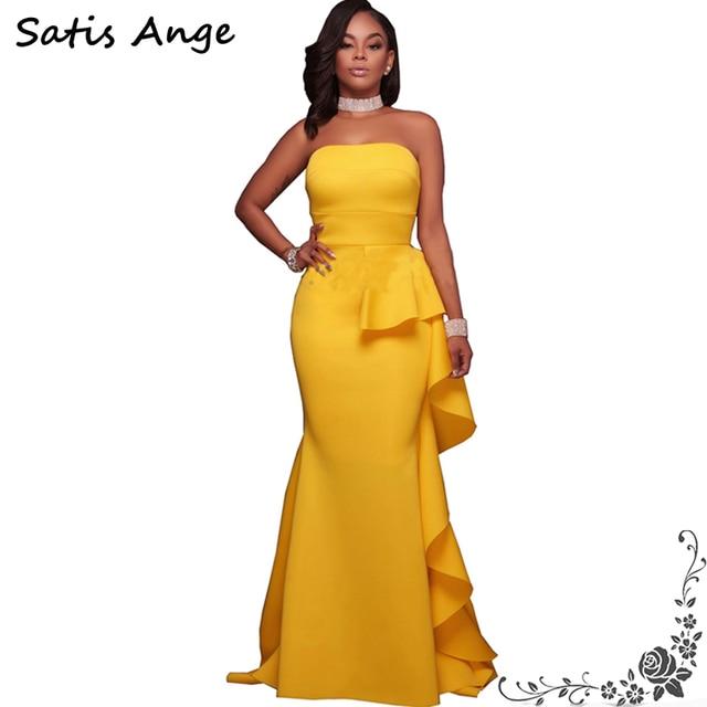 Satis Ange Off Shoulder Strapless Maxi Dress Formal Wedding Long Mermaid 2017 Y Elegant Party