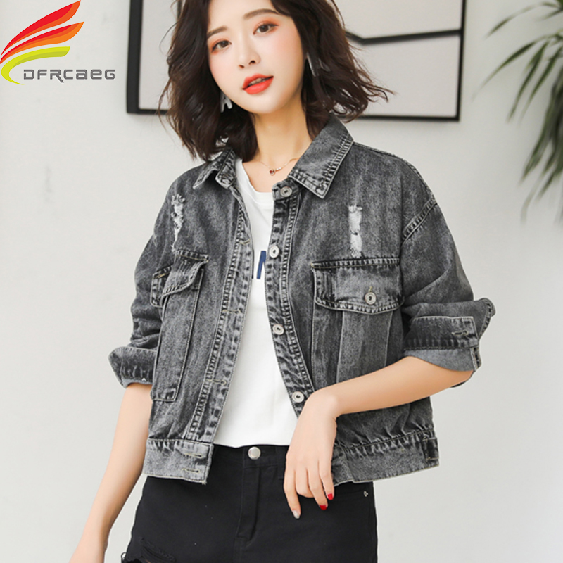 Black Denim Jacket Women Autumn 2019 New Arrivals Street Style Hole Pockets Coats And Jackets Women Single Buttons Jean Jacket